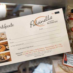 Pulcinella Restaurant Gift Certificate